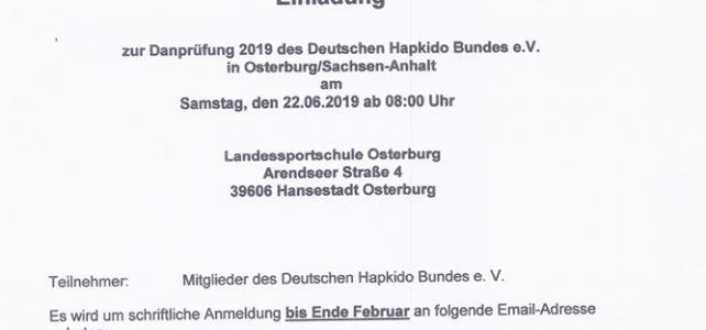 Einladung zur Danprüfung 2019 in Osterburg/Sachsen-Anhalt
