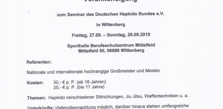 Vorankündigung: DHB-Lehrgang in Wittenberg